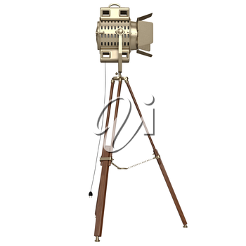 Lamp with wooden tripod. 3D graphic object on white background isolated