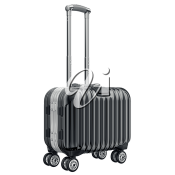 Black metal luggage for travel. 3D graphic object isolated on white background