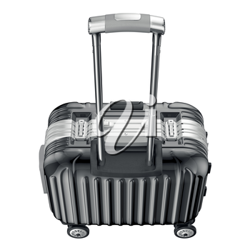 Luggage with handle, top view. 3D graphic object isolated on white background
