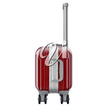 Red luggage on wheels, side view. 3D graphic object isolated on white background
