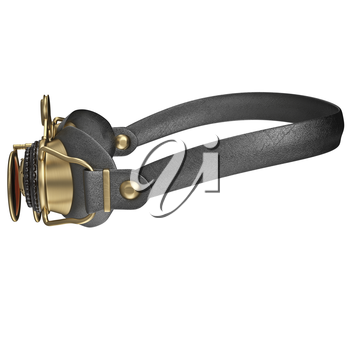 Steampunk goggles, side view. 3D graphic isolated object on white background