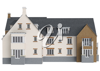 House mansion brick facade, front view. 3D graphic isolated object on white background