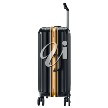 Metal luggage black, side view. 3D graphic object isolated on white background