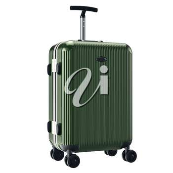 Green metallic luggage. 3D graphic object isolated on white background