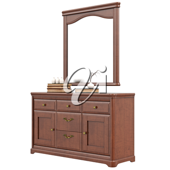 Dresser with mirror. 3D graphic isolated object on white background