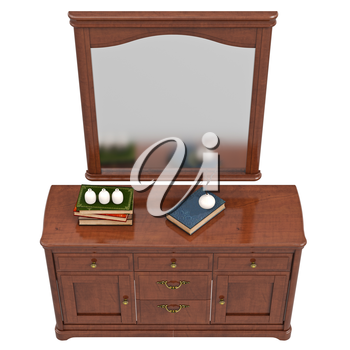 Dresser with mirror, top view. 3D graphic isolated object on white background