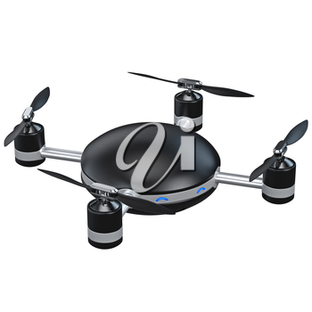 Automatic quadrocopter with camera. 3D graphic object isolated on white background