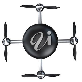 Flying automatic drone, top view. 3d graphic object on white background isolated