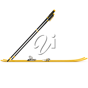 Sports skiing orange ski poles, side view. 3D graphic isolated object on white background