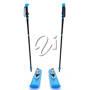 Skiing sports blue, ski poles, front view. 3D graphic isolated object on white background