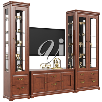 Set of furniture sideboard and dresser. 3D graphic isolated object on white background