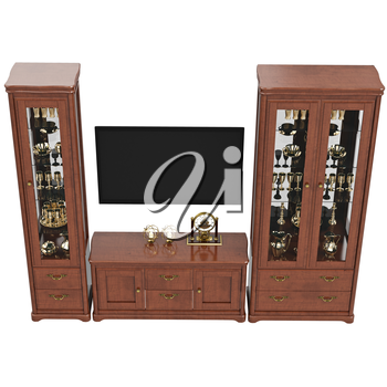 Sideboards with TV and dresser, top view. 3D graphic isolated object on white background