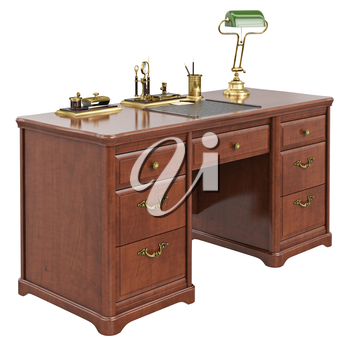 Wooden office desk. 3D graphic isolated object on white background