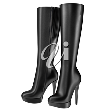 Black women's boots leather with zipper. 3D graphic