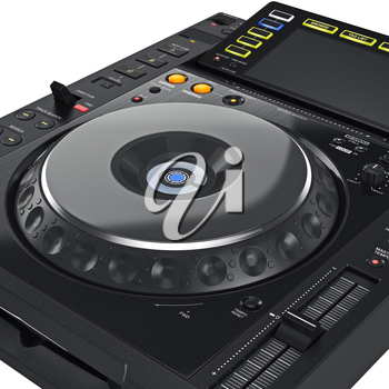 Digital dj music dance turntable mixer and large screen, close view. 3D graphic