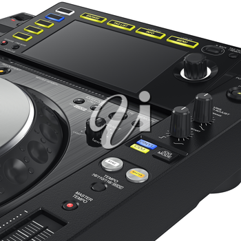 Digital dj music dance turntable and big screen mixer, close view. 3D graphic