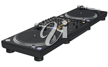Black dj mixer complete with vinyl player and remote control. 3D graphic