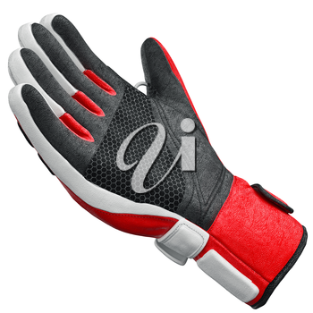 Skiing sports glove isolated on white background. 3D graphic