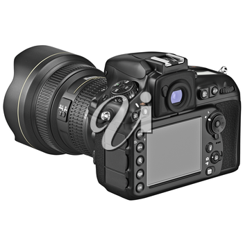 DSLR digital camera with large LCD display. 3D graphic