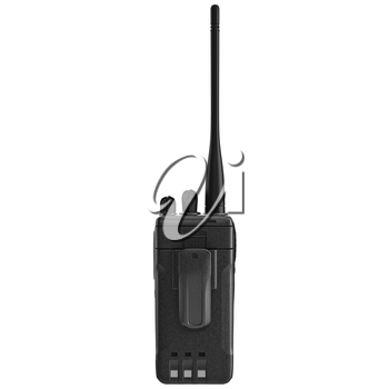 Portable mobile radio with antenna, back view. 3D graphic