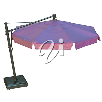 Purple patio umbrella, sunshade for relax. 3D graphic