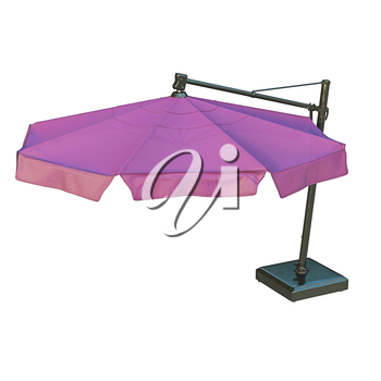 Purple modern beach umbrella for rest. 3D graphic