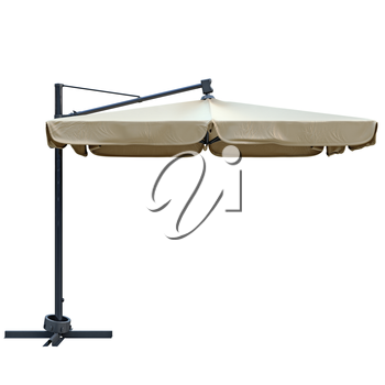 Patio umbrella, sunshade for relax, side view. 3D graphic