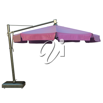 Beach umbrella for relax, side view. 3D graphic