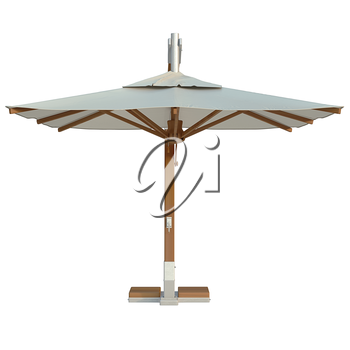 Square modern beach umbrella for relax, front view. 3D graphic