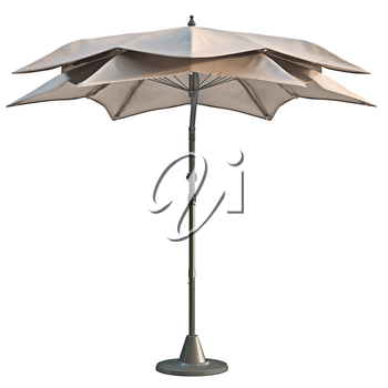 Modern beach umbrella, sun protection, front view. 3D graphic