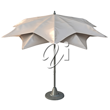 Beach umbrella sun protection, back view. 3D graphic