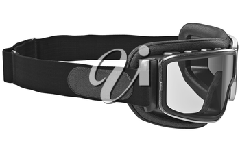 Safety glasses in retro style with leather stripe. 3D graphic