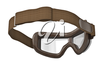 Brown glasses leather strap with retro, bottom view. 3D graphic