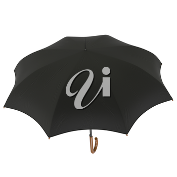 Rain umbrella open black classic. 3D graphic