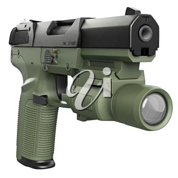 Gun green military, police with flashlight. 3D graphic