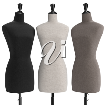 Female mannequins with stand retro style, front view. 3D graphic