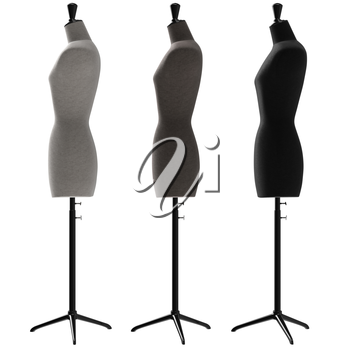 Female mannequins with stand retro style, side view. 3D graphic