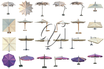 Set beach umbrella, sun protection. 3D graphic