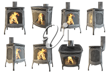 Set classic fireplace with fire isolated. 3D graphics. 3D illustration