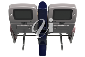 Passenger seats modern style with digital screen. 3D graphic