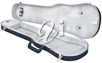 Open case viola, violin musical instrument accessories. 3D graphic