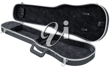 Black open case viola, violin musical instrument accessories. 3D graphic