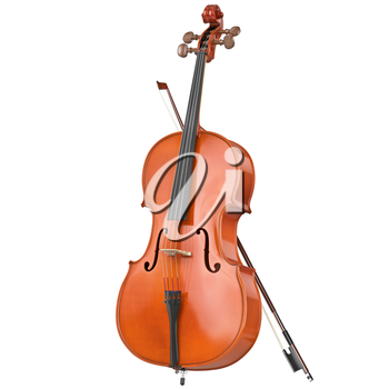 Classic wooden cello with brown bow. 3D graphic