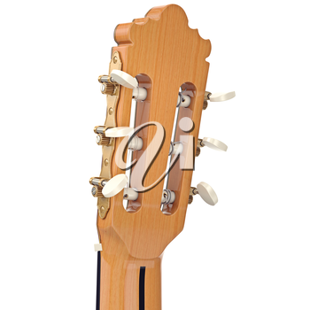 Headstock with tuning-pegs acoustic guitar, close view. 3D graphic