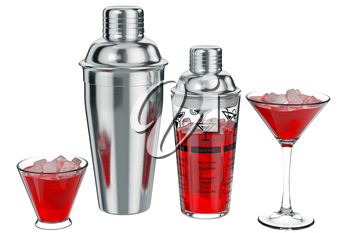 Cocktail shaker metal with ice inside. 3D graphic