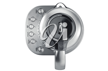 Electric kettle on aluminum stand with chrome buttons, top view. 3D graphic