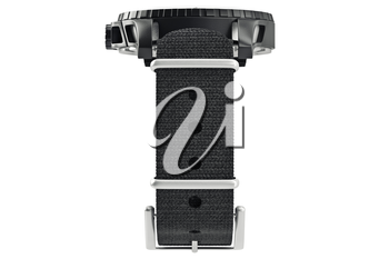 Modern military watch, front view. 3D graphic