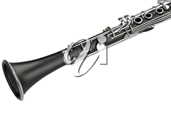 Clarinet black classical music equipment, close view. 3D graphic