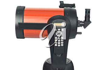 Telescope optical with console, close view. 3D graphic