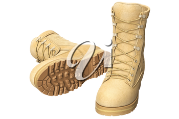 Military boots with brown tread soldier uniform. 3D graphic